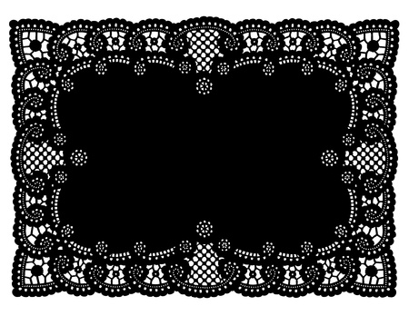 scalloped: Vintage Pattern Black Lace Doily Placemat for setting table, holidays, celebrations, cake decorating, scrapbooks, arts, crafts, copy space.