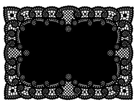 veters: Vintage Pattern Black Lace kleedje Placemat voor het instellen van tafel, vakantie, feesten, cake versieren, plakboeken, kunst, ambacht, kopie ruimte. Stock Illustratie