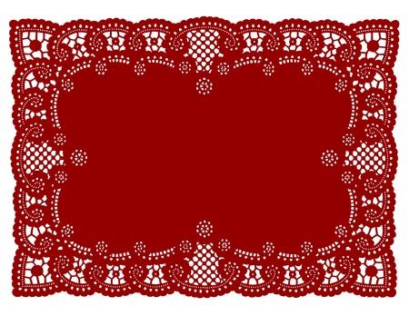 placemat: Vintage Lace Modello Red Centrino Tovaglietta per la tabella impostazione, feste, celebrazioni, decorazione di una torta, album, arte, artigianato, copia spazio. Vettoriali