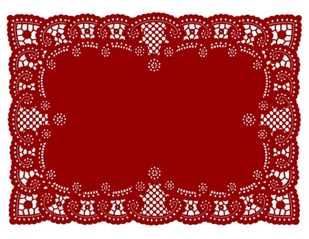lace pattern: Vintage Pattern Red Lace Doily Placemat for setting table, holidays, celebrations, cake decorating, scrapbooks, arts, crafts, copy space.