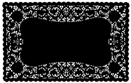 festonati: Modello Lace Vintage Nero Centrino Tovaglietta per la tabella impostazione, feste, celebrazioni, decorazione di una torta, album, arte, artigianato, copia spazio. Vettoriali