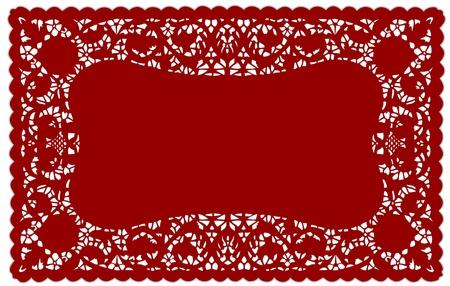 festonati: Vintage Lace Doily Placemat modello Red per la tabella recante, feste, celebrazioni, decorazione di una torta, album, arte, artigianato, copia spazio.