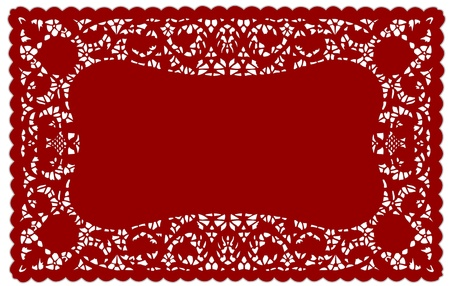 Vintage Pattern Red Lace Doily Placemat for setting table, holidays, celebrations, cake decorating, scrapbooks, arts, crafts, copy space.  Vector