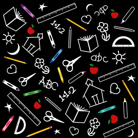Blackboard Background for back to school, scrapbook, arts, crafts projects, with chalk drawings of apples, schoolhouses, books, rulers, pencils, pens, markers, protractors, crayons, scissors, ABCs, math, grade school doodles. Stock Vector - 11170835
