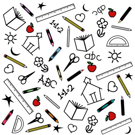 Blackboard Background for back to school, scrapbook, arts, crafts projects, with chalk drawings of apples, schoolhouses, books, rulers, pencils, pens, markers, protractors, crayons, scissors, ABCs, math, grade school doodles.  Vector