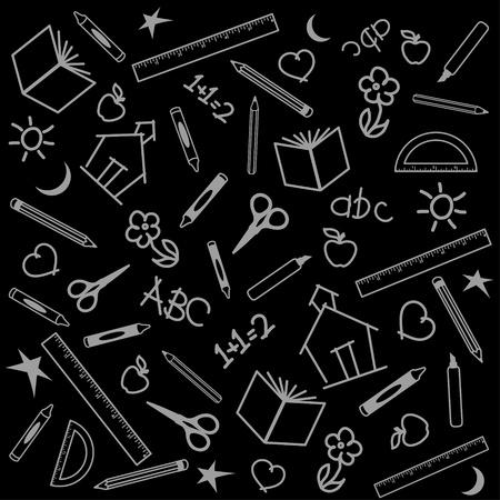 黒板背景用の学校、スクラップ ブック、芸術、クラフト プロジェクト、リンゴ、校舎、書籍、定規、鉛筆、ペン、マーカー、分度器、クレヨン、は