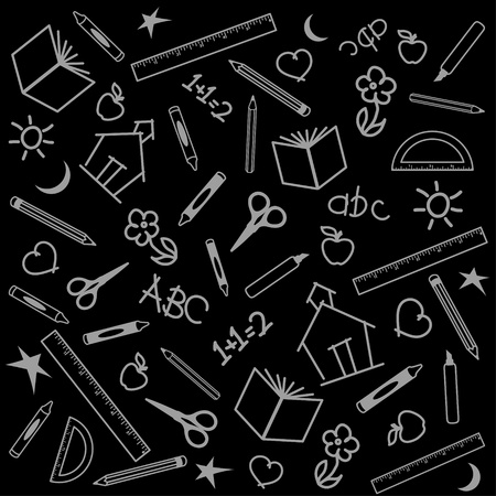 literate: Blackboard Background for back to school, scrapbook, arts, crafts projects, with chalk drawings of apples, schoolhouses, books, rulers, pencils, pens, markers, protractors, crayons, scissors, ABCs, math, grade school doodles.