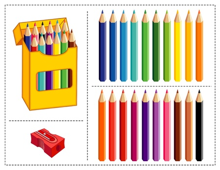 Box of Colored Pencils, 20 colors with pencil sharpener, for home, business, back to school, art projects, scrapbooks.  Vector