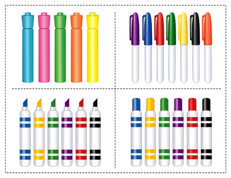 Felt Tip Markers Set. Pens and highlighters for back to school, home, business, art projects, scrapbooks.
