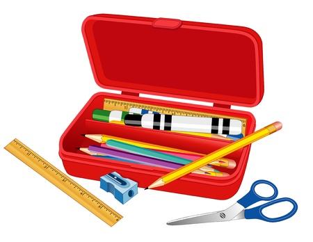 Caja lápiz con una regla, marcadores, tijeras, lápices y sacapuntas para el hogar, negocios, escuelas, proyectos de alfabetización, libros de recuerdos. Ilustración de vector