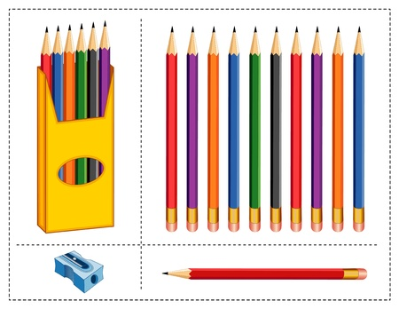 Pencils Set. Box, multicolor pencils, sharpener for home, business, back to school projects, scrapbooks. Banco de Imagens - 11170837