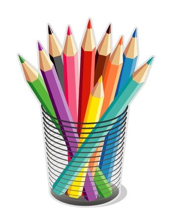 Lápices de colores en organizador de escritorio para el hogar, negocios, de nuevo a los proyectos escolares. Vectores