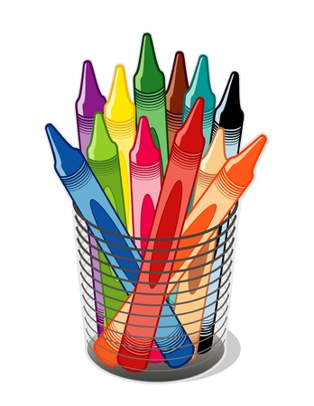 Crayons in desk organizer for home, business, back to school projects. Vector