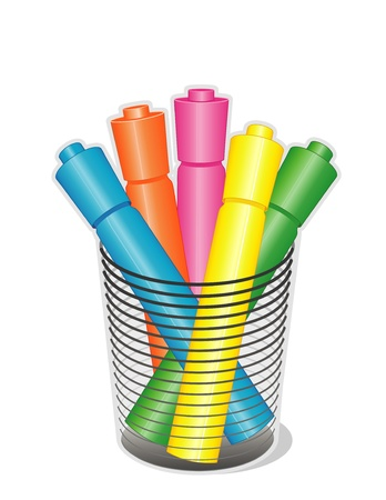 Highlighter Pens in desk organizer for home, business, back to school projects. Vector