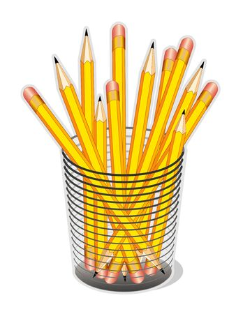 Yellow Pencils in desk organizer for home, business, back to school projects. Stock Vector - 11170849