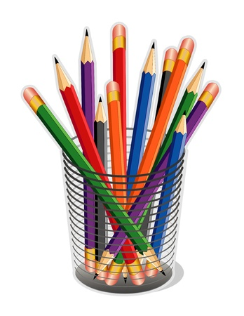 school desk: Multicolor Pencils in desk organizer for home, business, back to school projects. Illustration
