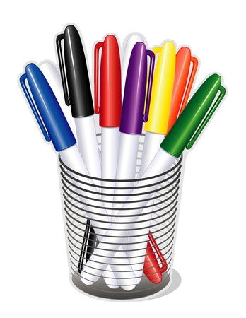 Small Tip Marker Pens in desk organizer for home, business, back to school projects. Vector