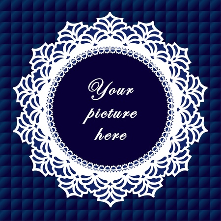 Vintage Lace Doily Frame on Quilted Background Vintage Lace Doily Picture Frame on royal blue quilted background.  Vector