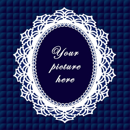 Vintage Lace Doily Frame on Quilted Background Vintage Lace Doily Picture Frame on royal blue quilted background.