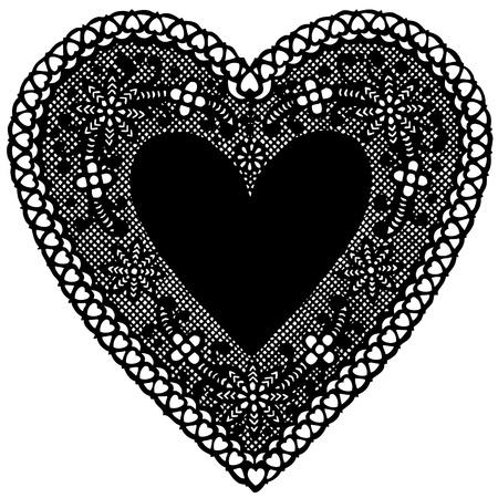 doilies: Antiguos de encaje Negro Coraz�n tapete con copia espacio. Vectores