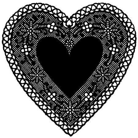 Antique Black Lace Doily Heart with copy space.  Vector