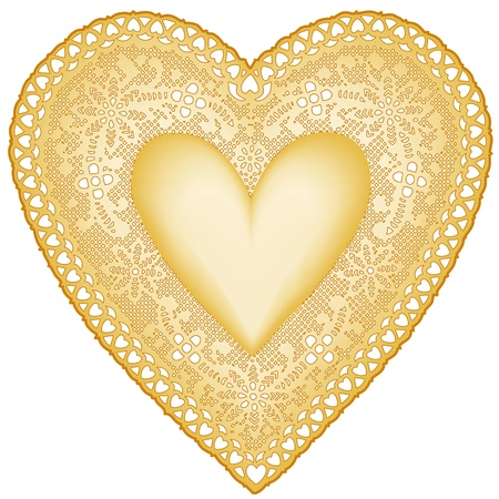 Antique Gold Lace Doily Heart with copy space.  Vector