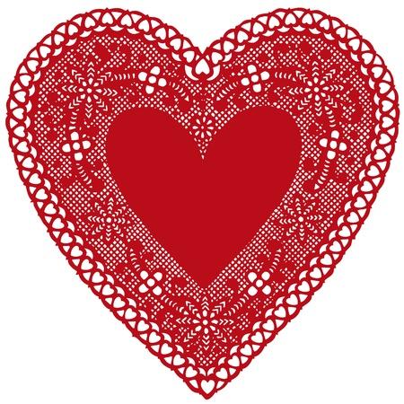 복사 공간이 골동품 레드 레이스 냅킨 심장입니다.