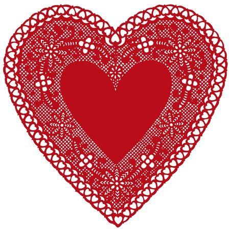 Antique Red Lace Doily Heart with copy space.  Ilustração