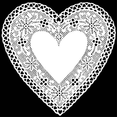 Antique White Lace Doily Heart with copy space.  Vector