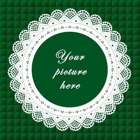 Vintage Lace Doily Frame on Quilted Background Vintage Lace Doily Picture Frame on emerald green quilted background.