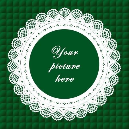 Vintage Lace Doily Frame auf Quilted Hintergrund Vintage Lace Doily Picture Frame auf smaragdgrünen gesteppten Hintergrund.