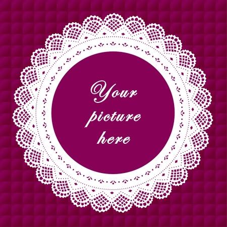 Jahrgang Spitzendeckchen Frame auf Quilted Hintergrund Vintage Spitzendeckchen Bilderrahmen auf Lavendel gesteppte Hintergrund. Vektorgrafik