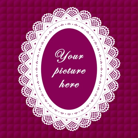 Vintage Lace Doily Frame on Quilted Background Vintage Lace Doily Picture Frame on lavender quilted background.  Vector