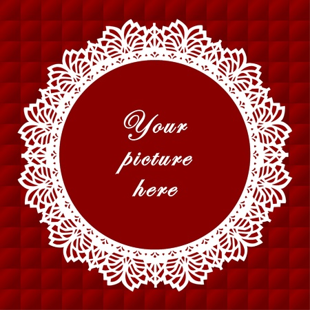 Vintage Lace Doily Frame on Quilted Background Vintage Lace Doily Picture Frame on red quilted background.  Vector