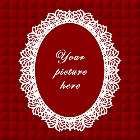 Vintage Lace Doily Frame on Quilted Background Vintage Lace Doily Picture Frame on red quilted background.