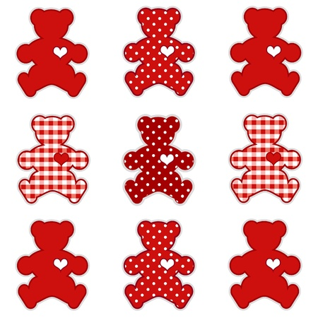 Teddy Bears with big hearts in polka dots and Valentine red gingham. Иллюстрация