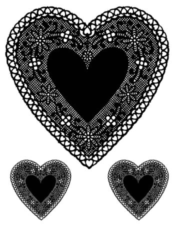 Antique Black Lace Heart Doilies with copy space. Vector