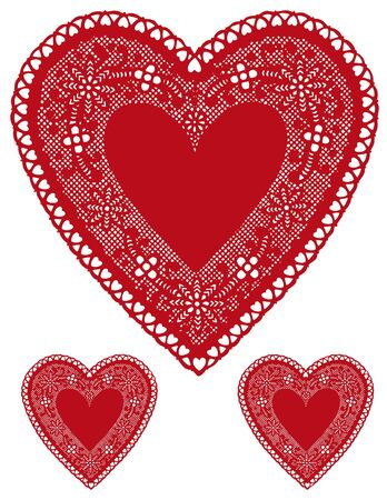 Antique Red Lace Heart Doilies with copy space. Stock Vector - 11553643