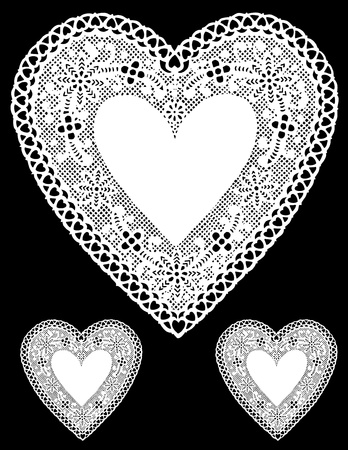 Antique White Lace Heart Doilies with copy space. Vector