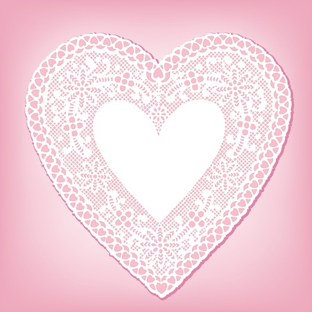 Antique White Lace Heart Doily, pink background, copy space. Vector