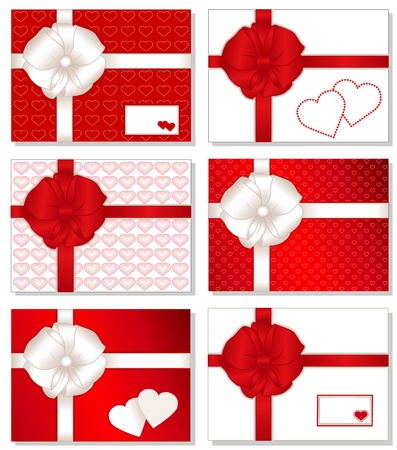Gift Boxes with Hearts. Presents with big white and valentine red bows, hearts, ribbons, gift cards with copy space. Vector