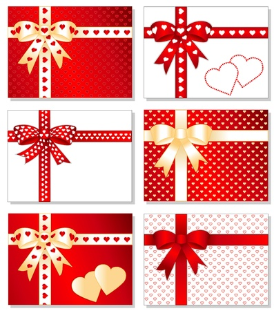 Gift Boxes with Hearts. Presents with gold and valentine red bows, hearts, ribbons, gift cards with copy space. Vector
