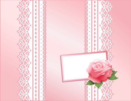 pink satin: Pink Rose, Vintage Lace and Satin Gift Box with copy space.