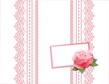 Pink Rose and Vintage Lace Gift Box with copy space.  Ilustração