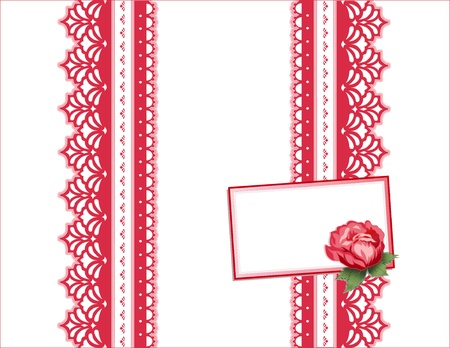 Deep Red Rose, Vintage Lace Gift Box, copy space. Vector