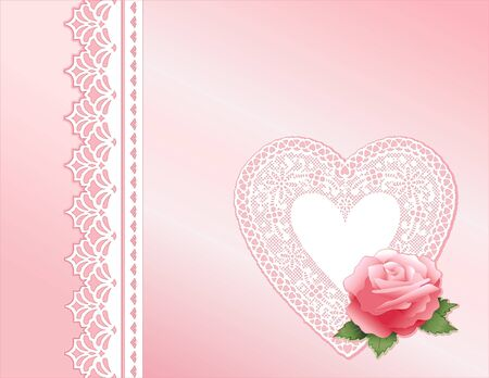 Pink Satin and Lace. Victorian style present with rose, antique lace heart. Copy space.  Vector