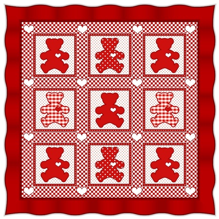 quilt: Teddy Bear Quilt. Old fashioned baby quilt pattern, Valentine red gingham, polka dots.  Illustration