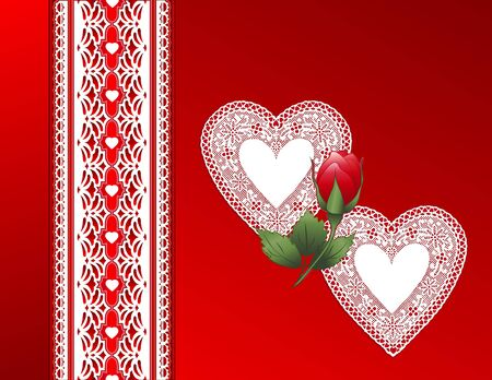 Lace and Red Satin. Victorian style present, red rose, antique lace hearts. Copy space for Valentines Day. Vector