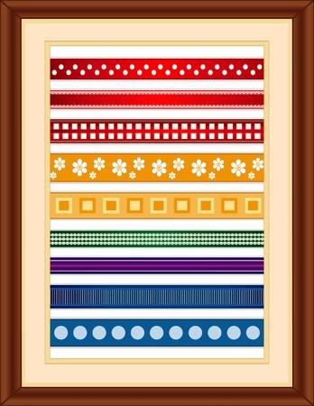 Lint Sampler in een houten frame. Ouderwetse stijlen: kleine polka dot, kant rand, geruit, bloemen, pleinen, boerenbont, strepen, grosgrain, grote polka dot ..