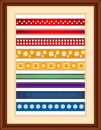 Ribbon Sampler in Wood Frame. Old fashioned styles: small polka dot, lace edge, checkered, flowers, squares, gingham, stripes, grosgrain, large polka dot.. Illustration